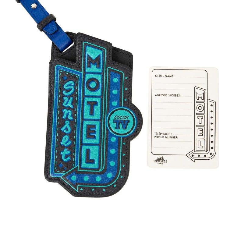 Hermes Luggage Tag Room 24 Bleu Indigo Black Green New w/ Box For Sale 1