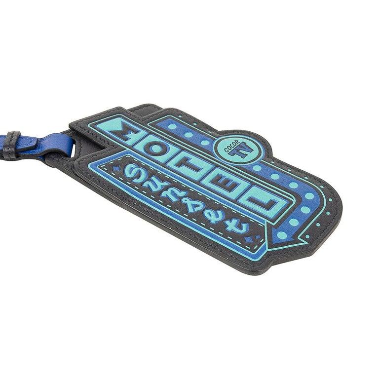Hermes Luggage Tag Room 24 Bleu Indigo Black Green New w/ Box For Sale 2