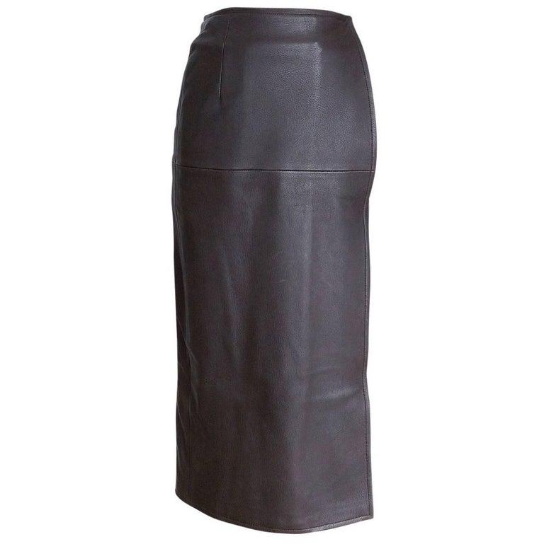 Hermes Luxurious Deer Leather Sleek Wrap Skirt 38 / 4
