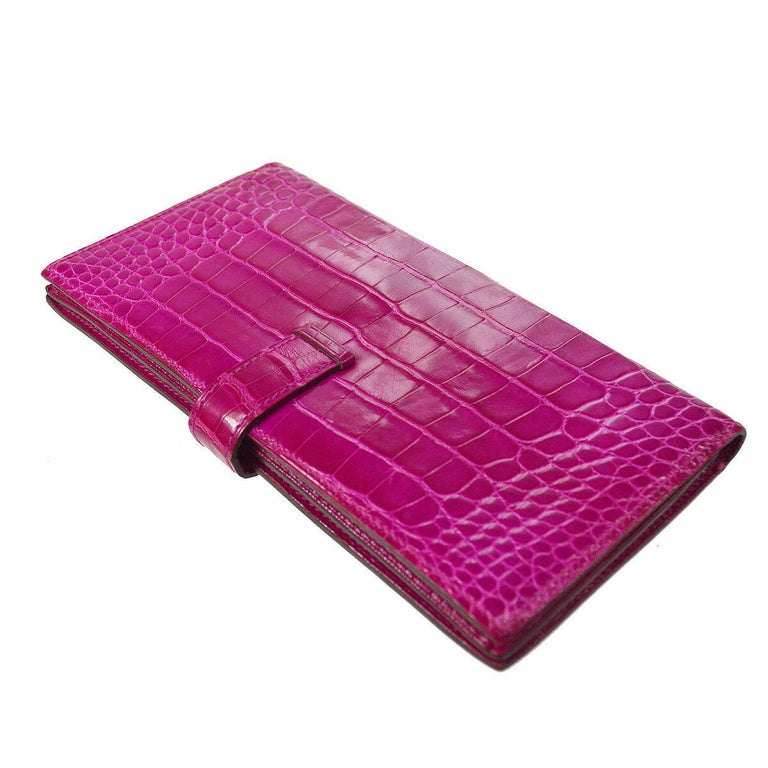 Purple Hermes Magenta Alligator 'H' Logo Palladium Evening Clutch Wallet Bag in Box For Sale
