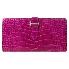 Hermes Magenta Alligator 'H' Logo Palladium Evening Clutch Wallet Bag in Box