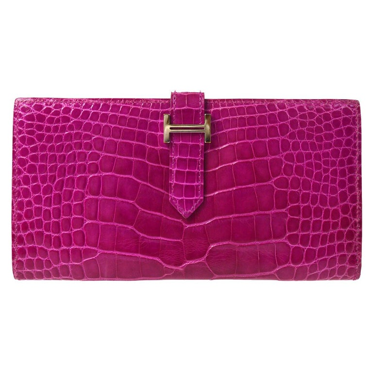 Hermes Magenta Alligator 'H' Logo Palladium Evening Clutch Wallet Bag in Box For Sale