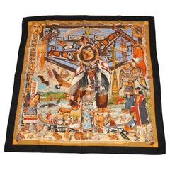 """Hermes Magnificently Detailed """"Limited Edition"""" """"Tsitsika"""" Silk Jacquard Scarf"""