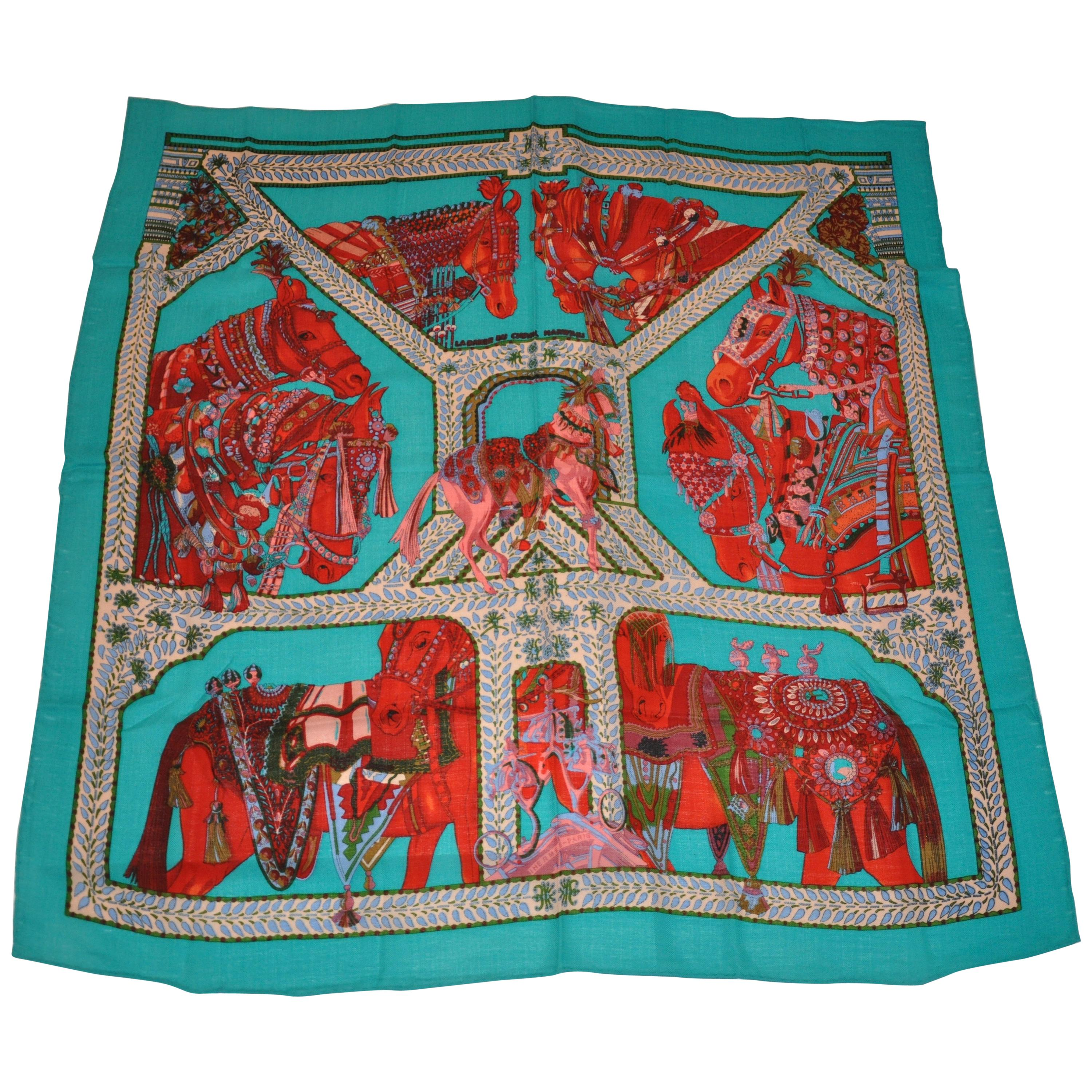 """Hermes Magnificently """"Limited Edition"""" """"Noble Horses"""" Wool Challis Shawl"""