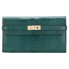 Hermès Malachite Green Alligator Kelly Wallet