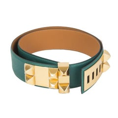 HERMES Malachite green Epsom leather & Gold COLLIER DE CHIEN Belt 90