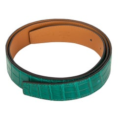 HERMES Malachite green SHINY PRORSUS CROCODILE 32mm Belt Strap 90
