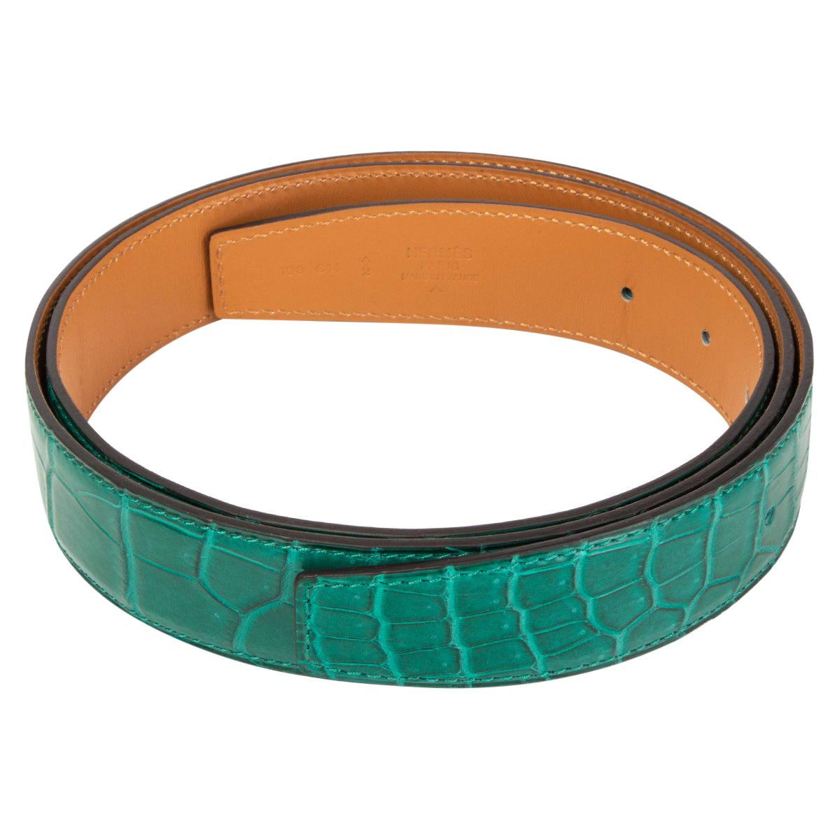 HERMES Malachite green SHINY PRORSUS CROCODILE 32mm Belt Strap 100