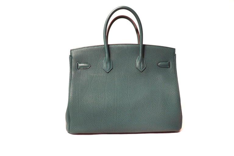 Gray Hermès Malachite Togo 35 cm Birkin Bag