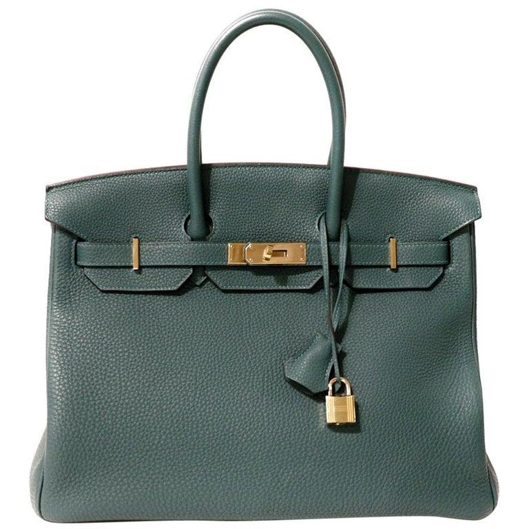 Hermès Malachite Togo 35 cm Birkin Bag