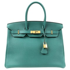 Hermès Malachite Togo 35 cm Birkin Bag with Gold HW