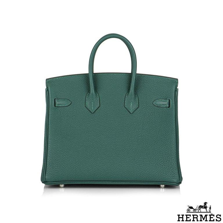 Blue Hermès Malachite Togo Birkin 25cm PHW For Sale