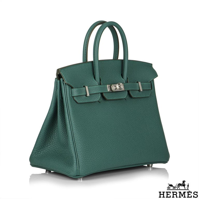 Hermès Malachite Togo Birkin 25cm PHW In New Condition For Sale In London, GB
