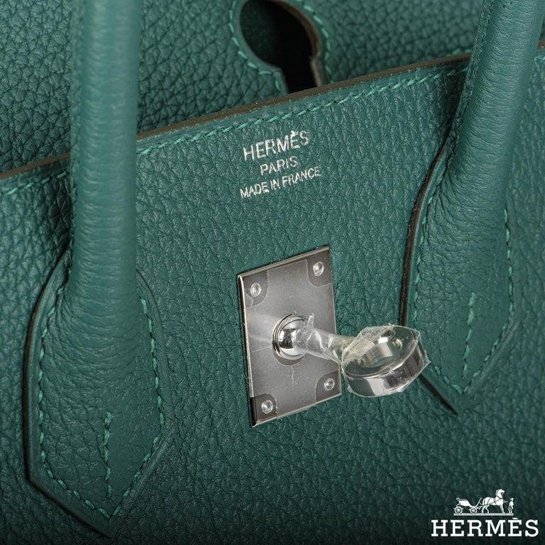 Women's Hermès Malachite Togo Birkin 25cm PHW For Sale