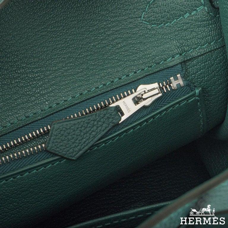 Hermès Malachite Togo Birkin 25cm PHW For Sale 1