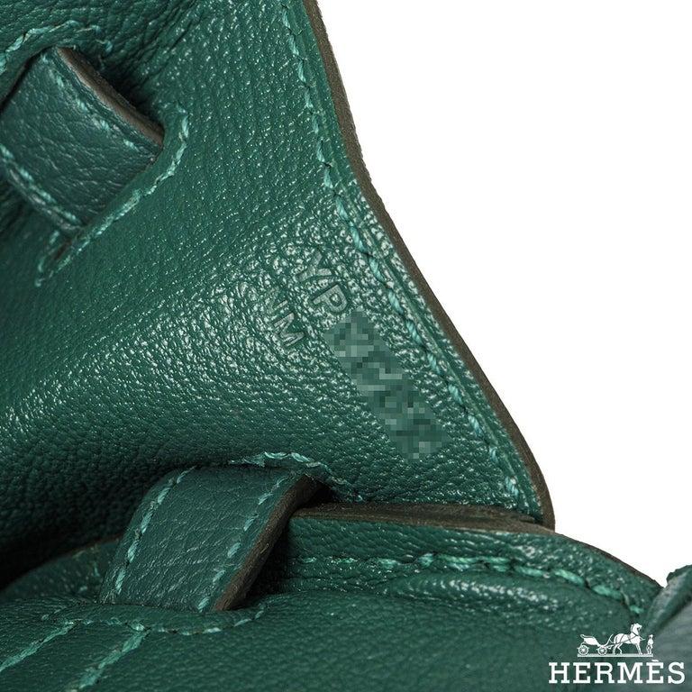Hermès Malachite Togo Birkin 25cm PHW For Sale 2