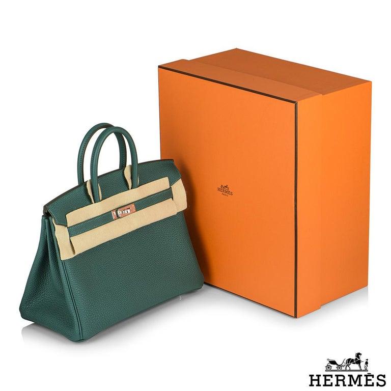 Hermès Malachite Togo Birkin 25cm PHW For Sale 4