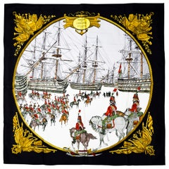 Hermes Marine et Cavalerie scarf designed by Philippe Ledoux in 1984