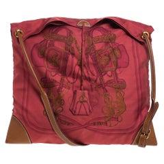 Hermes Maroon Bridge de Gala Silk and Leather MM Silky City Bag