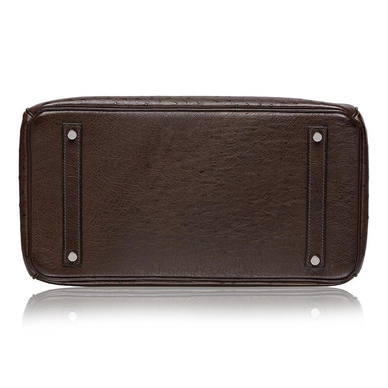 Black Hermès Marron Fonce Ostrich 35cm Birkin Bag
