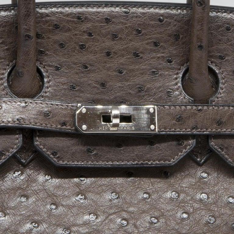 Hermès Marron Fonce Ostrich 35cm Birkin Bag 1