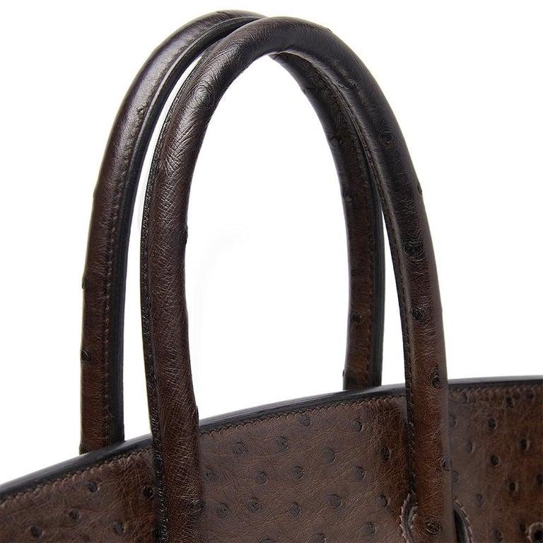 Hermès Marron Fonce Ostrich 35cm Birkin Bag 3