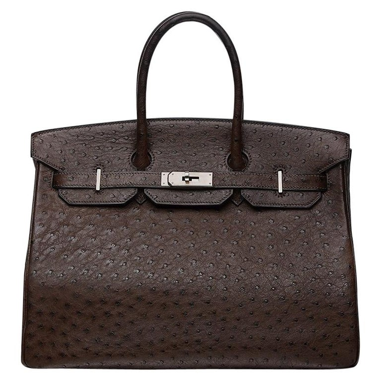Hermès Marron Fonce Ostrich 35cm Birkin Bag