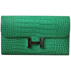 Hermès Matte Croc Constance Long Wallet with Palladium H/W