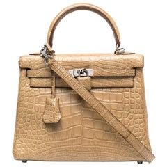 Hermès Matte Poussiere Alligator 25cm Kelly Bag