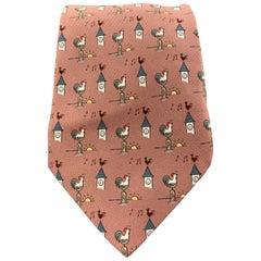 HERMES Mauve Pink Silk Sunrise Rooster Print Tie