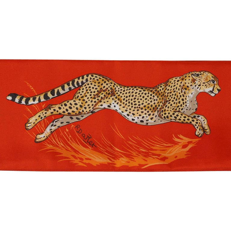 Hermes Maxi - Twilly Slim Guepards Orange / Beige Dore / Brun New w/Box In New Condition For Sale In Miami, FL