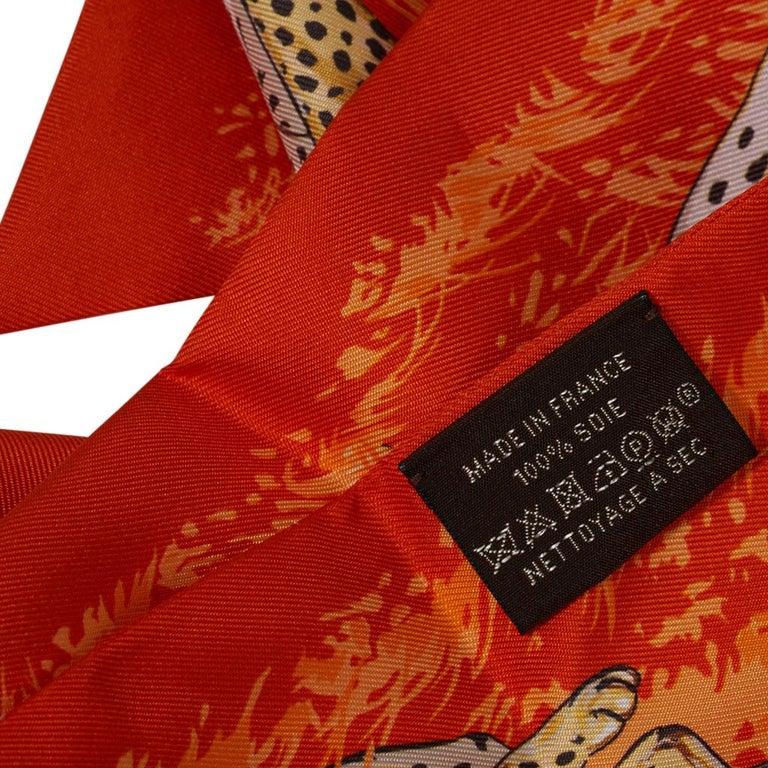 Hermes Maxi - Twilly Slim Guepards Orange / Beige Dore / Brun New w/Box For Sale 2