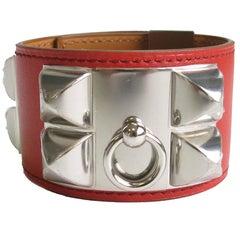 HERMES Médor Cuff Bracelet in Blood Color Tadelakt Calfskin
