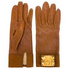 Hermes Medor Collier de Chien Camel Lambskin Leather Gloves