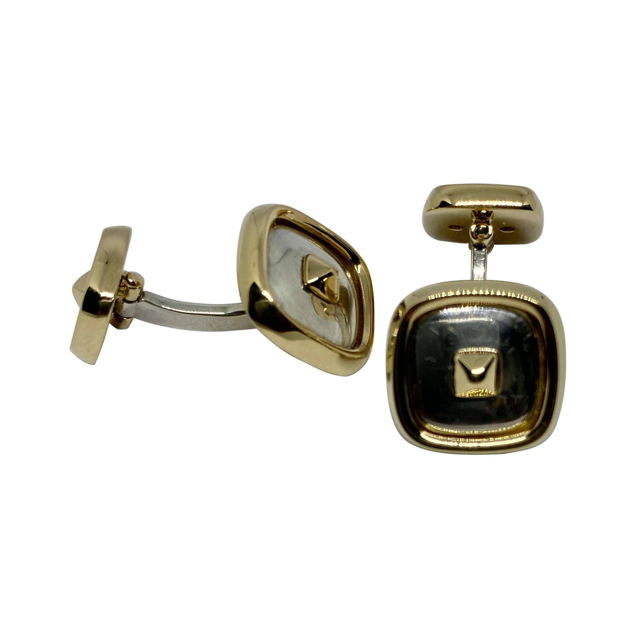 """Hermès """"Médor"""" Cufflinks in Yellow Gold and Sterling Silver"""