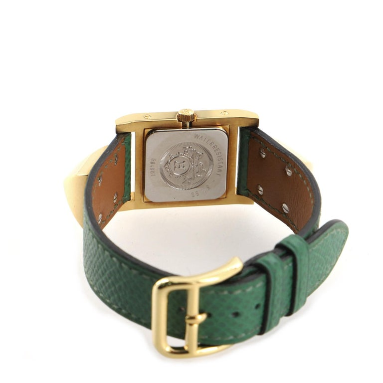 Women's Hermes Medor Quartz Watch Plated Metal and Leather 23