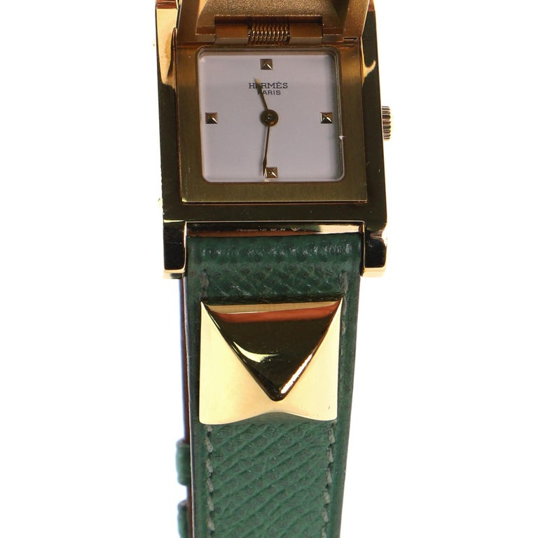 Hermes Medor Quartz Watch Plated Metal and Leather 23 2