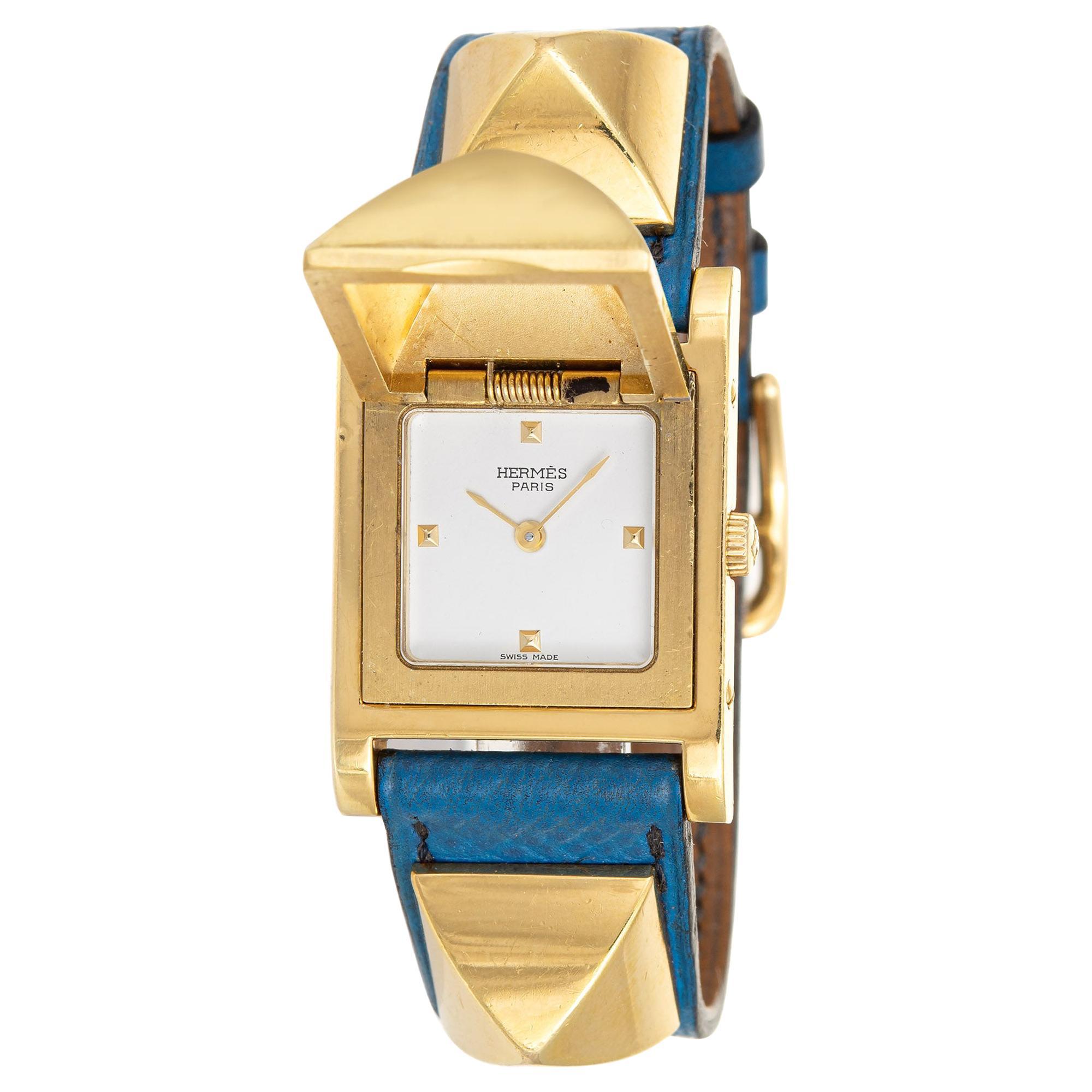 Hermès Medor Watch c1994 Blue Leather Strap Estate Fine Jewelry Pyramid Case