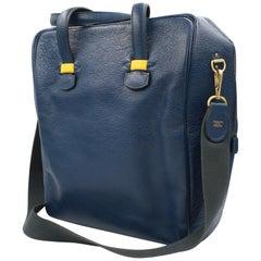 Hermes men handbag in blue leather