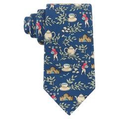 HERMES Men's Blue Multicolor Tea Set & Tea Leaf Branch Silk Necktie Tie 7501 IA