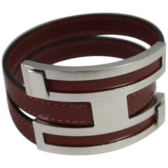 Hermes Men's Brushed steel and Leather Bracelet