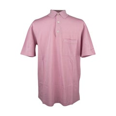 Hermes Men's H Embroidered Polo Shirt Rose Clair Cotton Short Sleeve L
