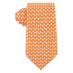 HERMES Men's Orange White Interlocking Chain 5-Fold Silk Necktie Tie 5231 SA