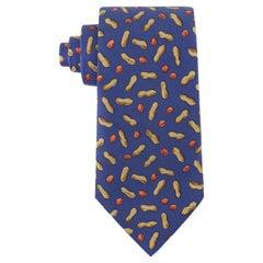 HERMES Men's Purple Brown Peanut Print 5-Fold Silk Twill Necktie Tie 7475 HA