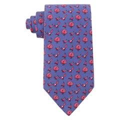 HERMES Men's Purple Pink Courting Peacocks 5-Fold Silk Twill Necktie Tie 5387 OA