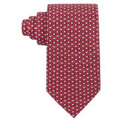 HERMES Men's Red Gray Blue Small Fish 5-Fold Silk Twill Necktie Tie 7892 UA