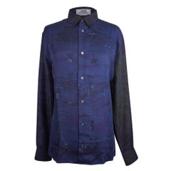 Hermes Men's Shirt Silk Iconic Scarf Prints Shirt 39 / 15.5 New w/Box