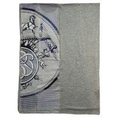 Hermes Unisex Silk Cashmere gris Chine/Marine/Bleu Grise 180cm Double Jeu Scarf