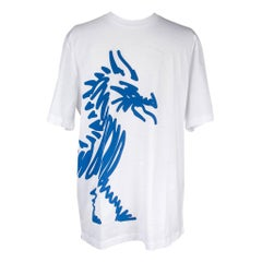 Hermes Men's T-Shirt Blanc w/ Blue Dragon M New w/ Box