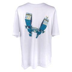 Hermes Men's T-Shirt Odyssee Blanc w/ Blue Design Cotton L New w/ Box